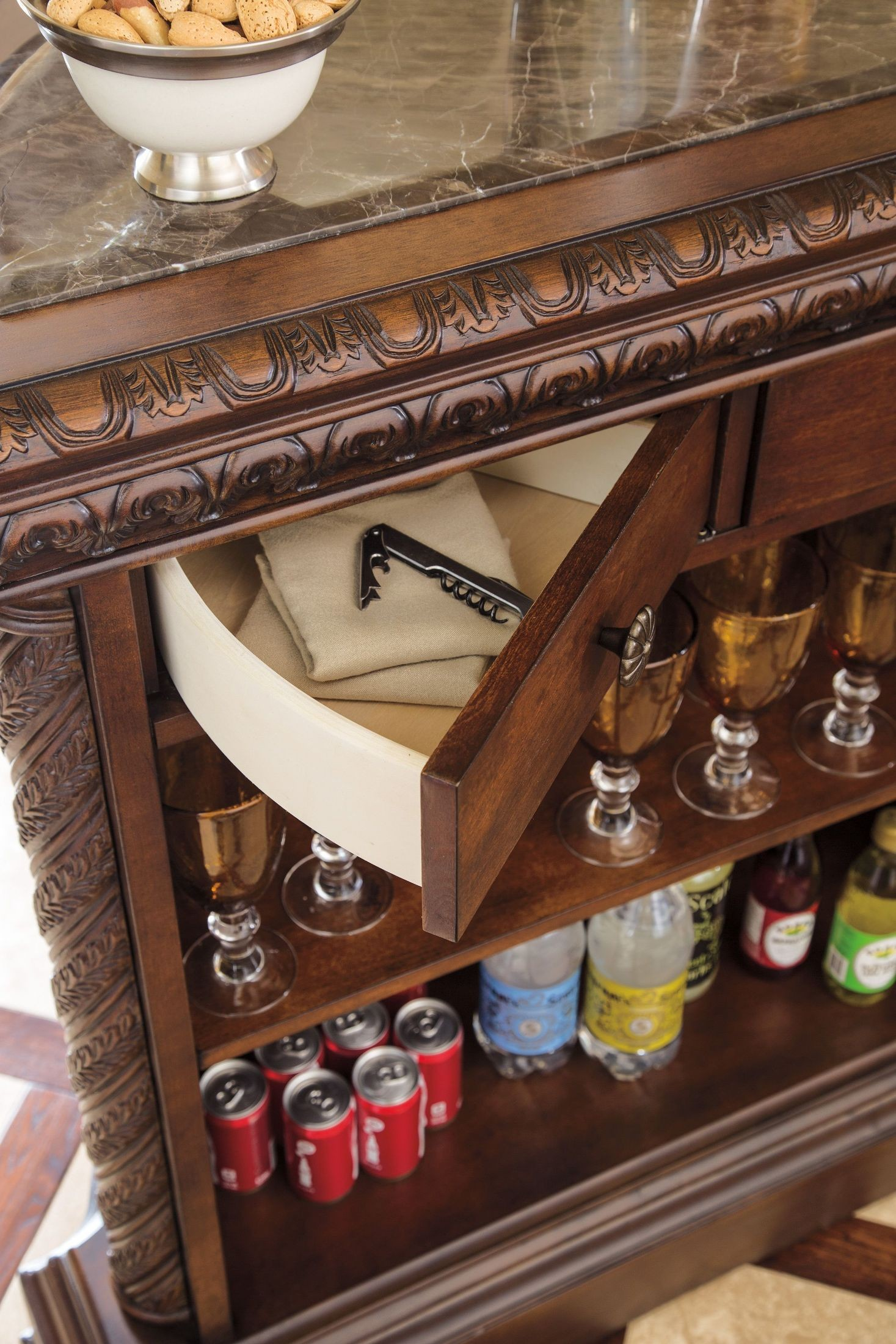 North Shore Marble Top Bar Ashley Furniture D553 65 Home Bars