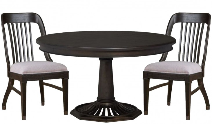 Hudson Square Vintage Charcoal Round Dining Room Set
