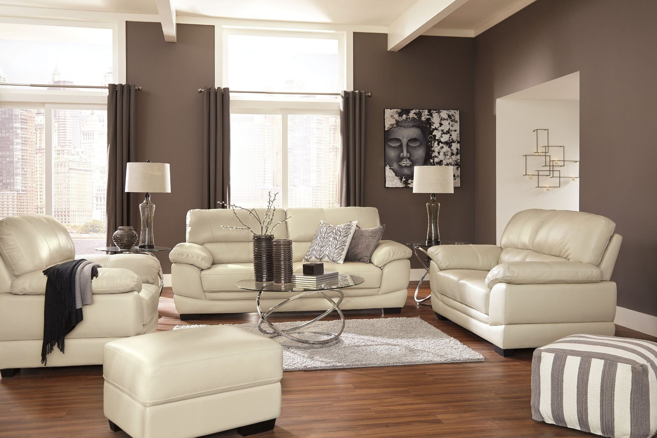 Fontenot Cream Living Room Set