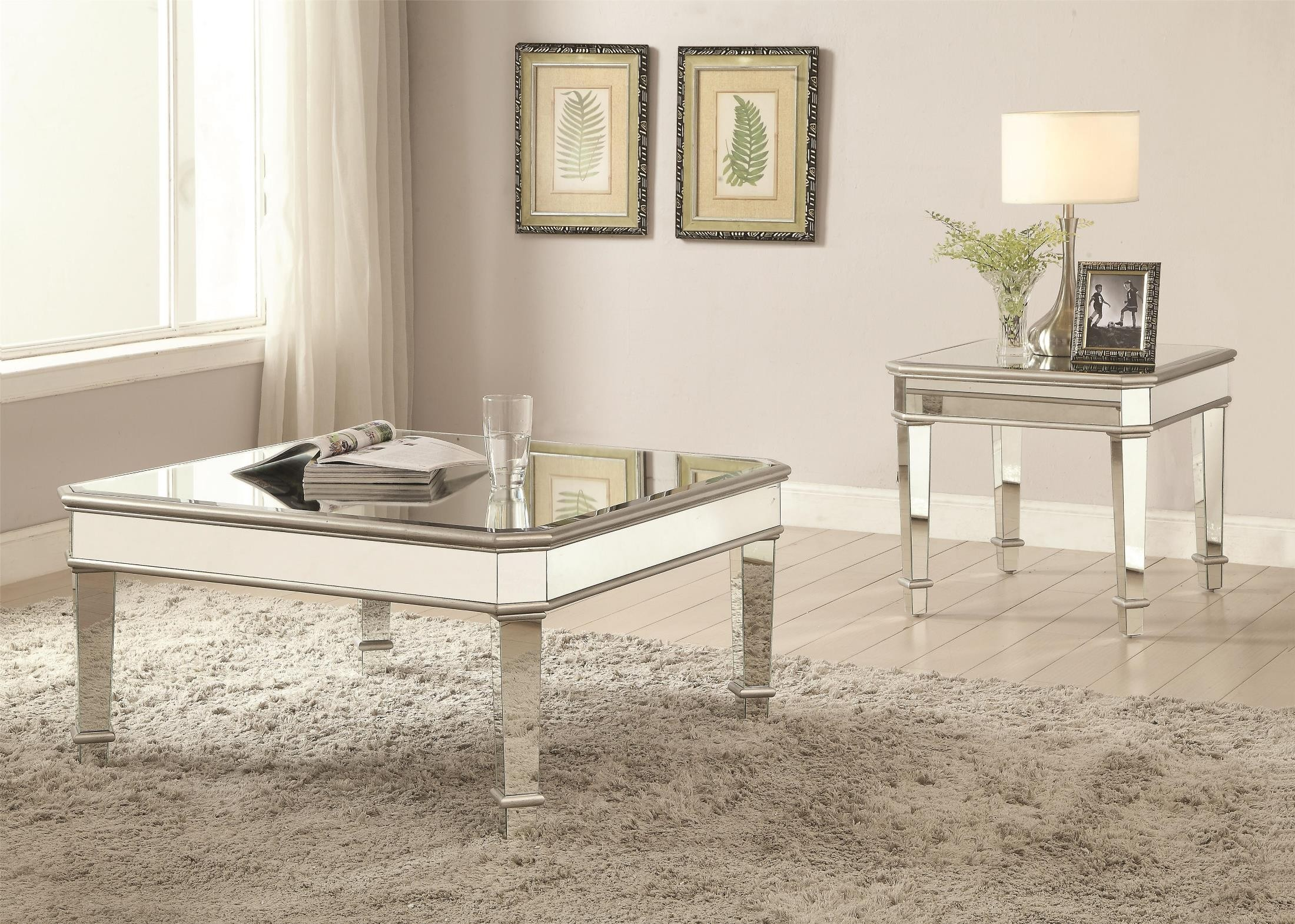 Silver Mirror Panel Occasional Table Set from Coaster