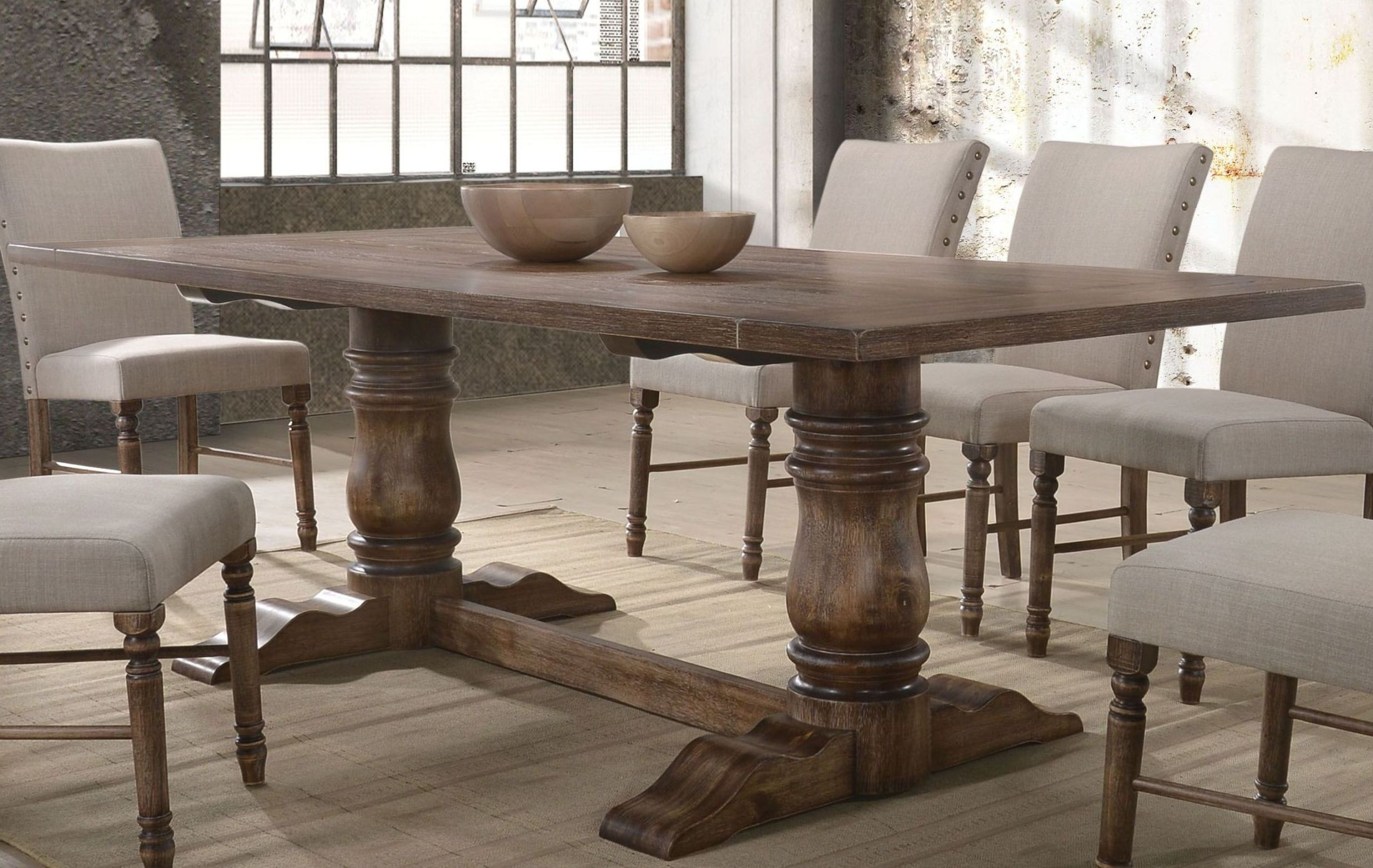 da4a063da621 FurnitureETC | Furniture & More Leventis Weathered Oak Dining Table ...