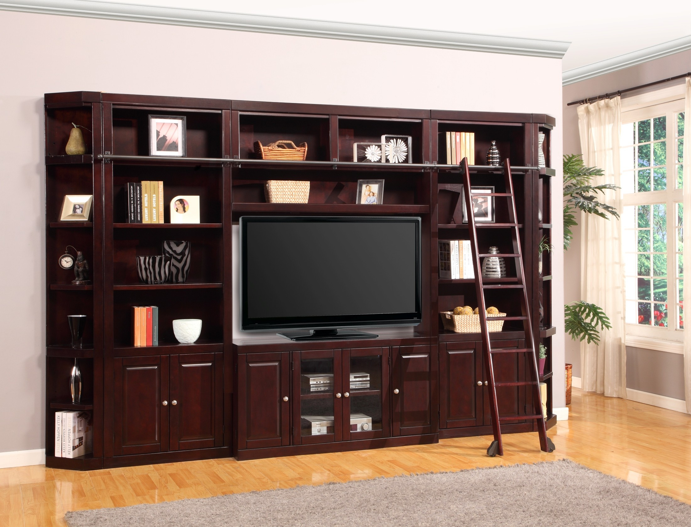 family with entertainment space cabinets and design contemporary floor open secretary unit desk furniture bookshelf your white center rug wood in home on small ideas room bookshelves storage plus for dark