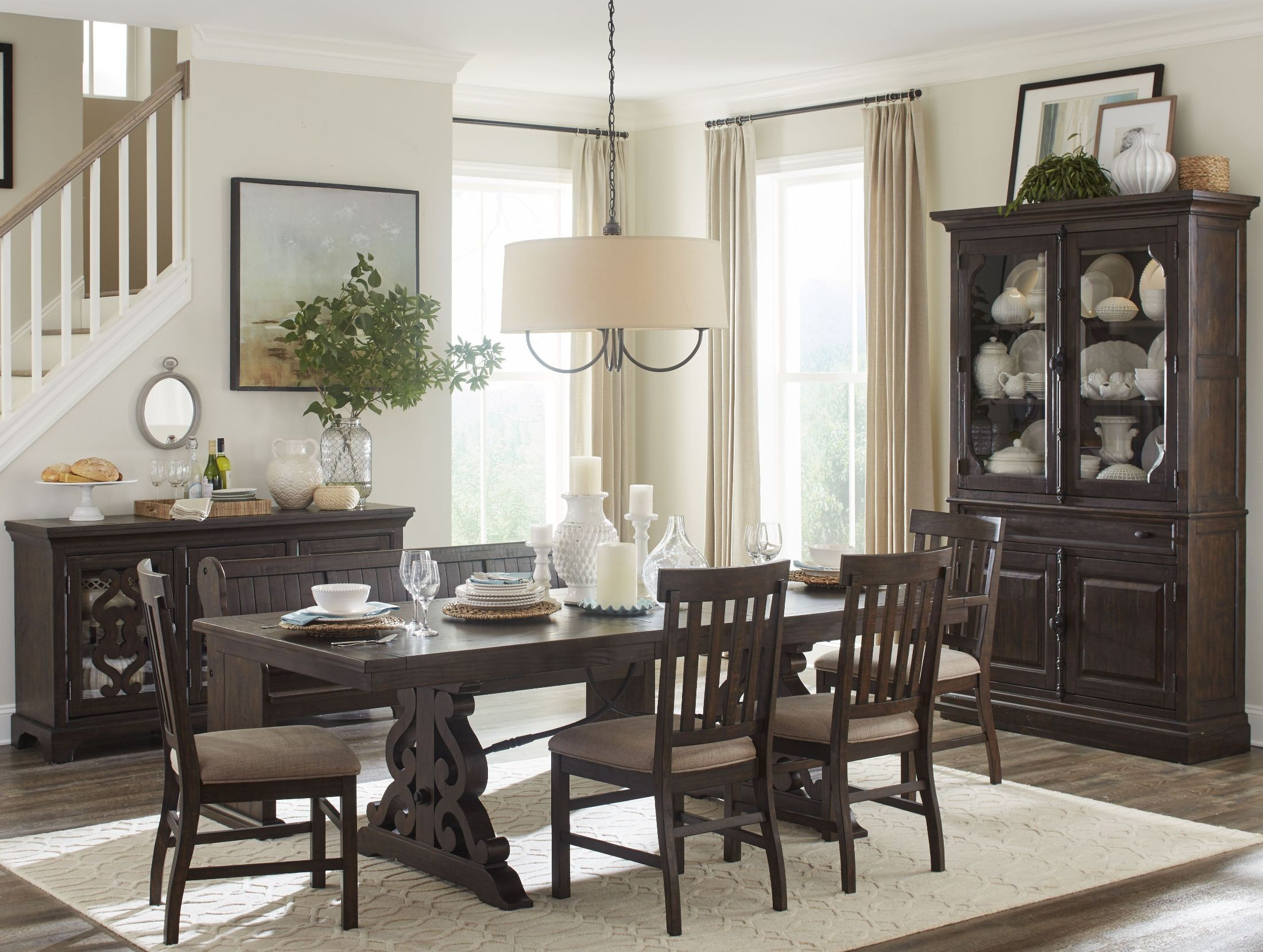 Dining Sets Tuscany Solid Wood Large Dining Set Table 6 Chairs: Furniture & More St.Claire Rustic Pine