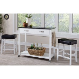 White 3 Piece Bar Set