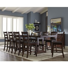 Holbrook Antique Tobacco Counter Height Extendable Dining Room Set