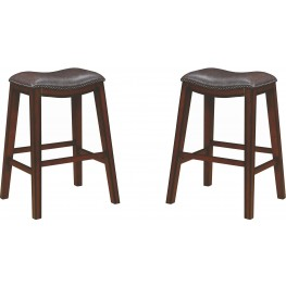 Rec Room Two-Tone Brown Upholstered Barstool Set of 2