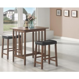 Black 3 Piece Counter Height Dining & Dinette Set 130004