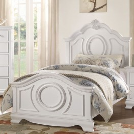 Lucida White Twin Panel Bed
