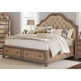 Ilana Antique Linen King Panel Storage Bed