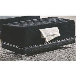 Barzini Black Upholstered Trunk