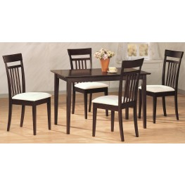 Cappuccino 5 Piece Rectangular Dining Room Set Chair 4430