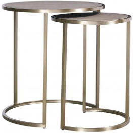 Modern Bennett Brown And Gold Bunching Tables