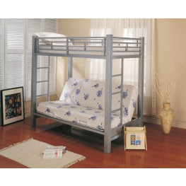 Silver Metal Twin Over Full Bunk Bed with Futon