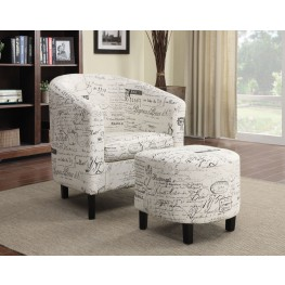 French Script Pattern Accent Chair with Ottoman