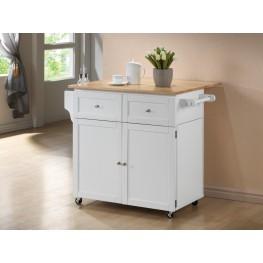 900558 White/Natural Kitchen Cart