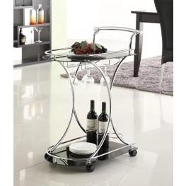 Black Glass Serving Cart 910001