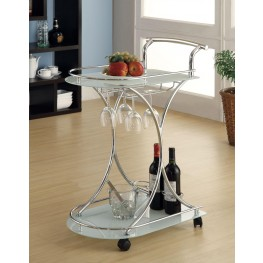 Chrome Frosted Glass Serving Cart 910002