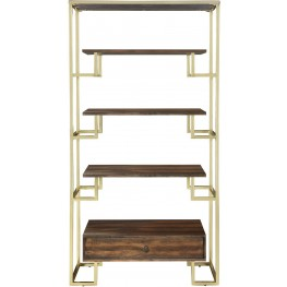 Brushed Brass and Warm Walnut Etagere by Donny Osmond