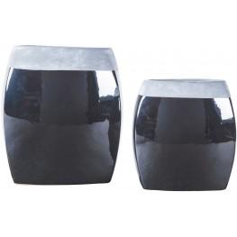 Derring Black and Nickel Vase Set of 2