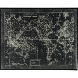 Framed Map framed Canvas Wall Art