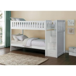 Galen White Twin Over Twin Bunk Bed with Storage Staircase