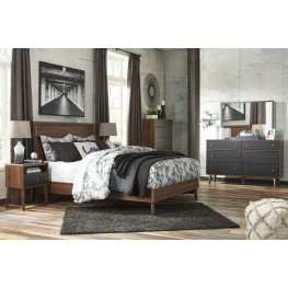 Daneston Brown and Black Panel Bedroom Set