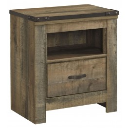 Trinell Brown 1 Drawer Nightstand
