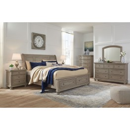 Lettner Light Gray Sleigh Storage Bedroom Set