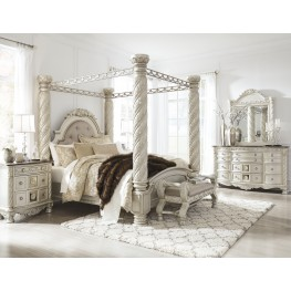 Cassimore North Shore Pearl Silver Upholstered Poster Canopy Bedroom Set