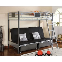 Cletis Silver and Gun Metal Twin Over Futon Bunk Bed