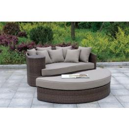 Calio Dark Brown Patio Sofa And Ottoman