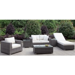 Somani Gray and Ivory Outdoor Living Room Set