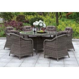 "Canistota 59"" Gray Round Outdoor Patio Dining Set"
