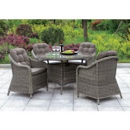 "Canistota 47"" Gray Round Outdoor Patio Dining Set"