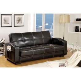 Colona Black Leatherette Storage Futon Sofa