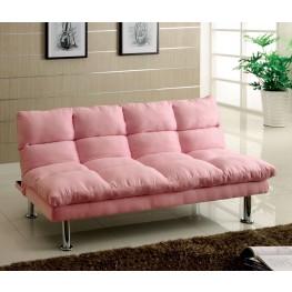 Saratoga Pink Microfiber Futon Sofa