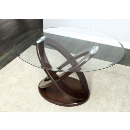 Atenna II Dark Walnut Glass Top Oval Counter Height Pedestal Table