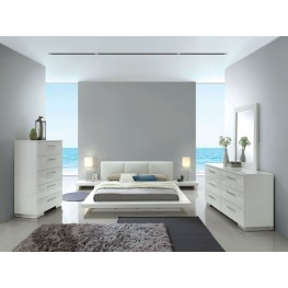 Christie High Gloss White Upholstered Platform Bedroom Set