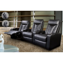 Cyrus Black Leather Match Three-Seat Home Theater Set - 600130-3