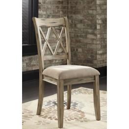 Mestler Antique White Upholstered Side Chair Set of 2