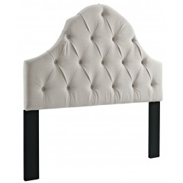 Full/Queen Round Top Tufted Linen Headboard
