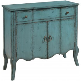 Distressed Turquoise One Drawer Accent Chest