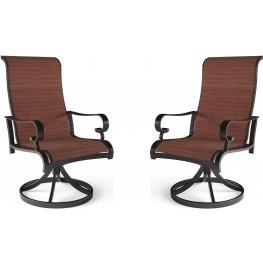 Apple Town Burnt Orange Sling Swivel Chair Set of 2