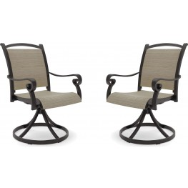 Bass Lake Beige And Brown Sling Swivel Chair Set of 2
