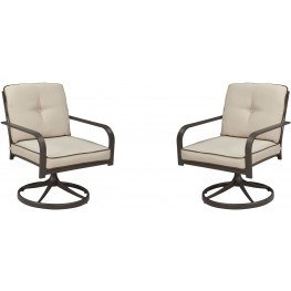 Predmore Beige and Brown Swivel Lounge Chair Set of 2