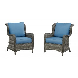 Abbots Court Blue and Gray Lounge Chair Set of 2