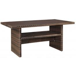 Salceda Beige and Brown Outdoor Rectangular Multi-Use Table