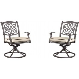 Burnella Beige and Brown Swivel Chair Set of 2