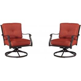 Burnella Orange and Brown Swivel Lounge Chair Set of 2