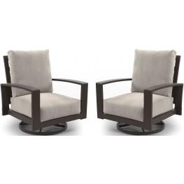 Cordova Reef Dark Brown Swivel Lounge Chair Set of 2